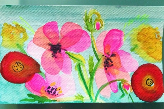 Colorful Hot Pink, Turquoise, & Yellow poppy watercolor painting. Bold wall art