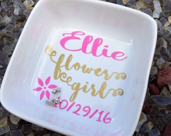 Flower girl jewelry holder, personalized flower girl gifts, flower girl jewelry, flower girl gifts, ring dish