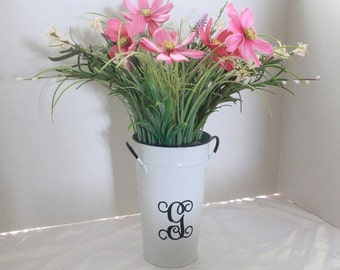 WHITE ENAMEL French Vase Personalized