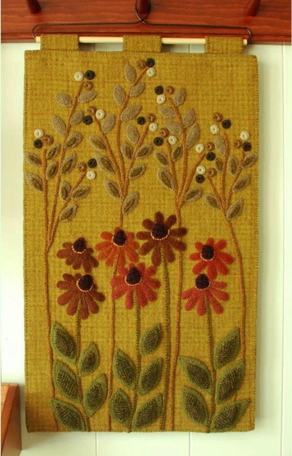 Wool Applique Pattern Roadside Coneflowers Wall