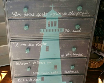 Nautical LIGHTHOUSE OOAK Blue  Seafoam Wood Distressed Dresser Rustic Vintage Shabby Chic Beach Cottage Salvage Refinished Bible Verse Whagn
