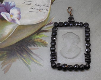 Antique Czech Intaglio Glass Cameo Mourning Jewelry Pendant    FCS21