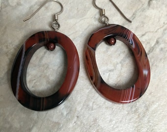 Carnelian & Sterling Silver Oval Earrings