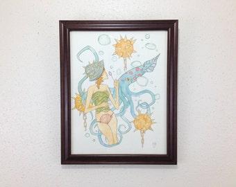 Seashell Girls - Squid // ORIGINAL FRAMED ocean beach watercolor painting
