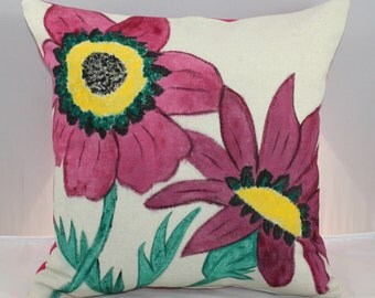 Pillow Floral Pink Wildflowers with Zipper 16x16