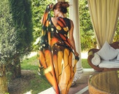 Pareo vegan silk scarf sarong butterfly wings beach wrap orange and black