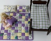 RESERVED FOR CAROL Small doll quilt sheet pillows for 7 to 12 inch dolls purple yellow white green patchwork reversible