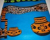 Blue African fabric per yard,  Pottery Motifs African Decor Fabric/ African quality Prints/ African Craft fabrics