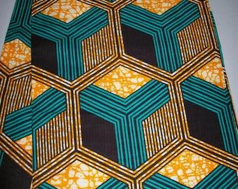 Per Yard, Aqua Blue and orange color Supreme Wax Holland African fabric/Ankara wax print/ Holland wax prints/ Supreme Holland fabrics