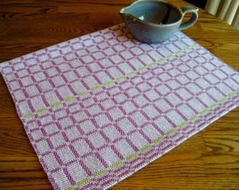 Handwoven Tea Towel, Hand Woven Dish Towel, Magenta and Lime Towel, Kitchen Linen, Woven Towel, Hand Loomed Towel, Gourmet Kitchen Gift