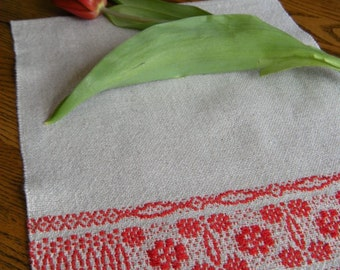 Tea Towel Hand Woven, Woven Bath Towel, Beige and Red, Guest Towel, Finger Tip Towel, Hostess Gift, Handwoven Spa Cloth