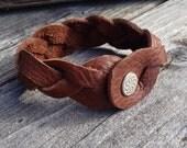 Leather Cuff Bracelet, Handmade Jewelry, Handcut Leather, Handtooled Leather, Leather Jewelry, Mystery Braid Cuff, Rocker Bracelet, Jewelry