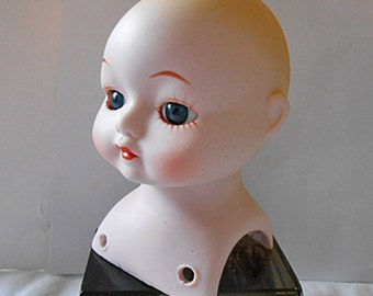 PORCELAIN DOLL MAKING Parts Beautiful Head Blue Eyes, 2 Legs & 2 Arms, White Shoes, 1980s Vintage Kit Small Single Doll, Craft Supplies #4