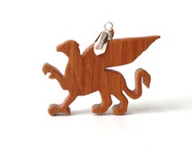 Wooden Griffin Gryphon Pendant Necklace Medieval Fantasy Mythical Jewelry Scroll Saw Hand Cut Cherry