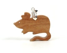Wood Mouse Pendant Necklace Scroll Saw Wood Animal Totem Mouse Jewelry Maple