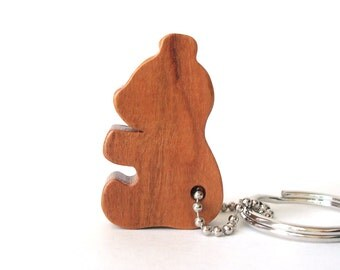 Teddy Bear Silhouette Key Chain Wood Scroll Saw Outline Country Key Ring Cherry