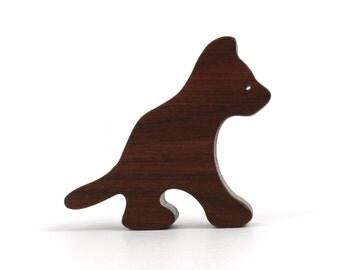 Small Wooden Cat Figurine Sitting Wood Cat Toy Waldorf Wood Farm Animal Toys Walnut