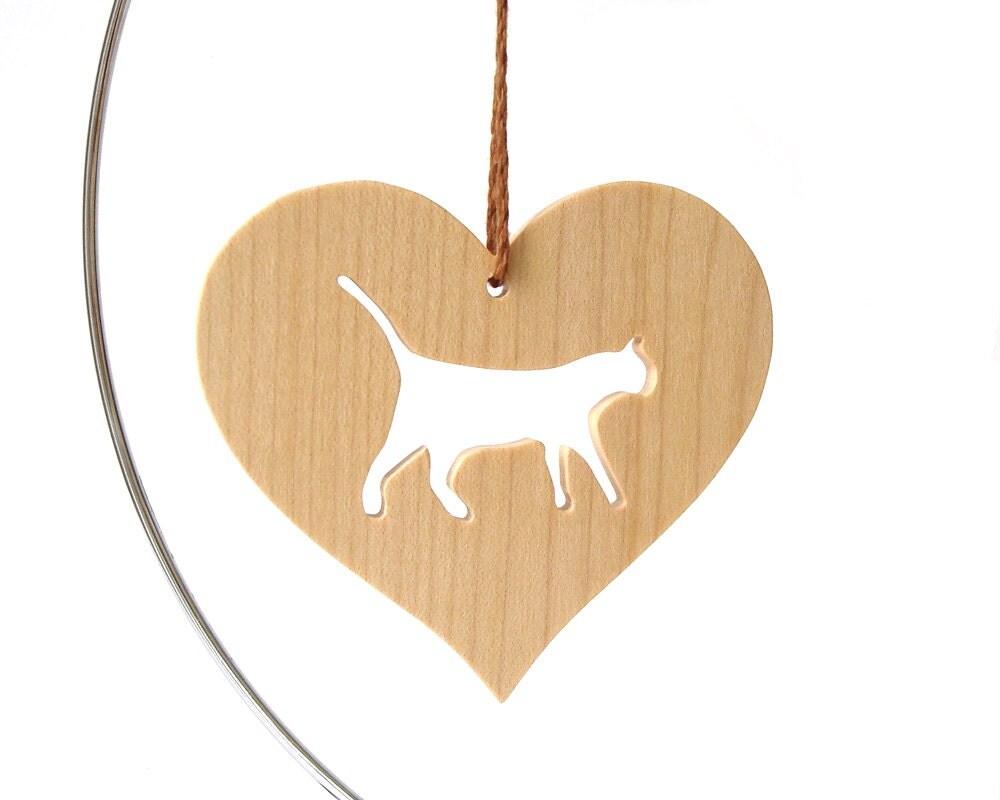 Wood cat ornament wooden heart shaped pet by oohlookitsarabbit