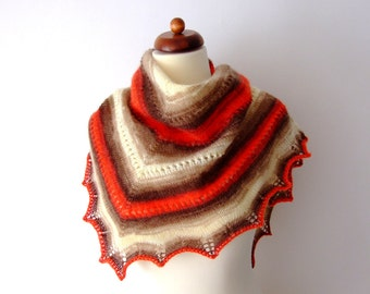 knit scarf, triangle, cream red brown, handmade, cozy and warm