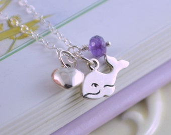 Happy Whale Necklace, Sterling Silver, Birthstone Jewelry for Girls, Child, Animal Rights, Heart Charm, Real Gemstone