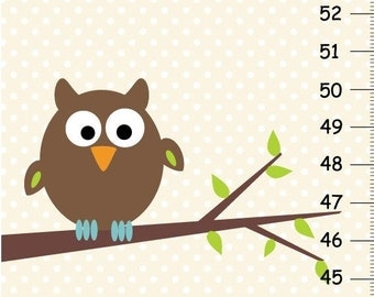 ON SALE Personalized Nature Owl Canvas Growth Chart