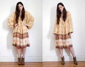 Vintage Indian Cotton Indian Boho Dress Hippie Dress Ethnic Floral Balloon Sleeve Dress 70s