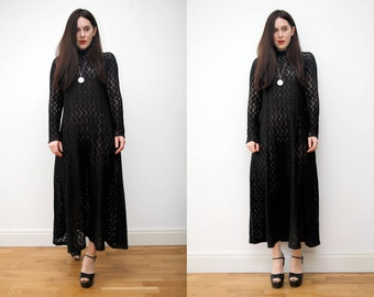 Vintage Kaftan Cotton Crochet Hippie Grecian Boho Caftan Maxi Dress