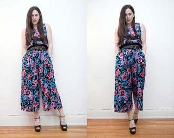 Vintage Floral Jumpsuit Romper All in One Pant Palazzo Jumpsuit