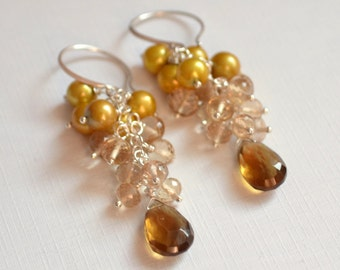 Gold Cluster Earrings, Real Freshwater Pearls, AAA Champagne Citrine, Beer Quartz Gemstone, Sterling Silver Jewelry, Free Shipping