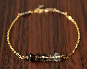 Simple Smoky Quartz Bracelet, Brown Ombre Shaded Row, Sterling Silver or Gold, Gemstone Jewelry, Real AAA Stone, Free Shipping
