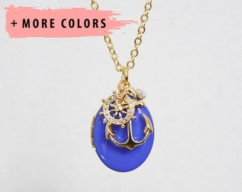 Gold Anchor Sailor Charms Necklace with Blue Enamel Locket
