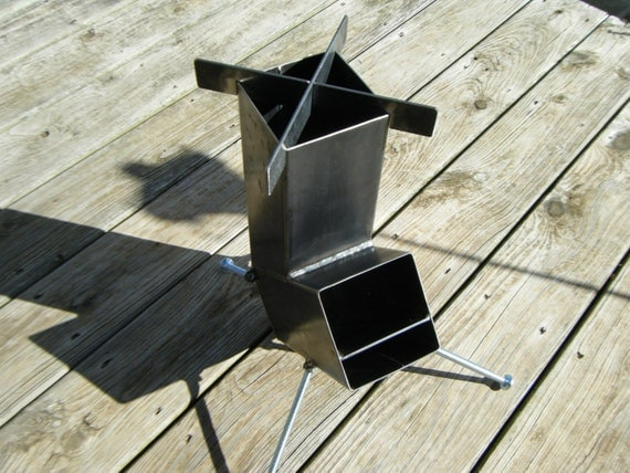 Rocket stove self feeding gravity feed design all by for Portable rocket stove plans