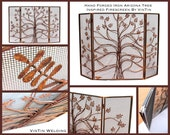 Made to Fit Your Fireplace Hand Forged Iron Tri-Fold Arizona Tree Inspired Firescreen by VinTin (Item # F-222)
