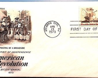 """1973 Bicentennial American Revolution First Day Issue Cover depicting """"The Posting of a Broadside"""""""