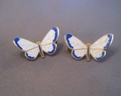 Vintage Gold Plate Blue White Enamel Butterfly Pins