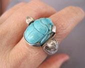 Vintage Sterling Turquoise Scarab Beetle Snake Ring