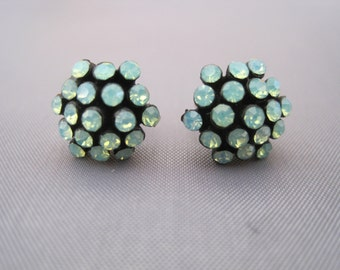 Vintage Silver Blue Green Opal Tubular Stud Earrings