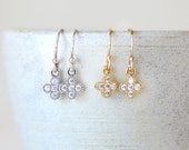 Tiny CZ Cross Dangle Drop Earrings // Sterling Silver // 14K Gold Filled