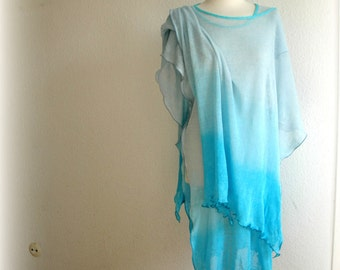 LINEN Tunic Turquoise Blue  Summer  Hand - Dyed Linen Knitted With Unique Art Eco Friendly Fiber Art Soft Summer Tunic