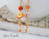 RESERVED for Janice** Orange Asymmetrical Earrings Orange Floral earrings Sunset earrings Sunrise earrings mismatched earrings - Sunrise