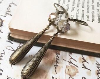 Vintage Art deco earrings, Art deco earrings, art nouveau earrings, Madmen Jewelry, Vintage Filigree earrings - Charmed
