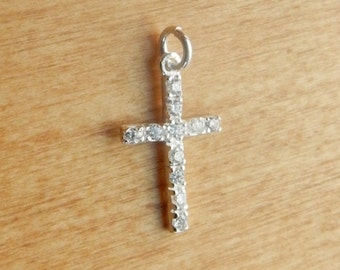 Sterling silver CZ Cross Charm (20.6x12mm )