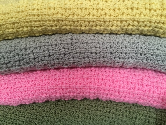 Knitted Baby Afghan,Throw Blanket, Light Yellow, Light Gray, Bright Pink, Celery