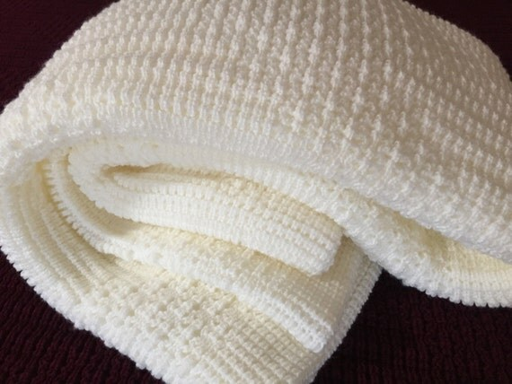 Afghan,Throw Blanket, Knitted , Natural Color