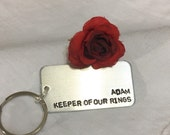 Ring Bearer gift, hand stamped backpack charm, wedding, from bride and groom, name,
