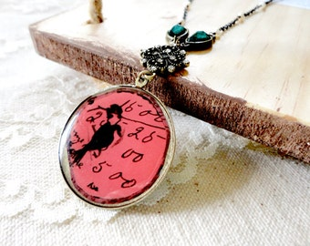 Berry red round bird and text pendant necklace with bronze, teal, and tiny pearl accents, boho chic jewelry, I'll Fly Away
