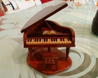 Miniature Carved Wood Grand Piano