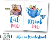 ALICE IN WONDERLAND Birthday Party Signs Eat me Drink Me Alice in Onederland birthday party decorations Alice in wonderland birthday decor