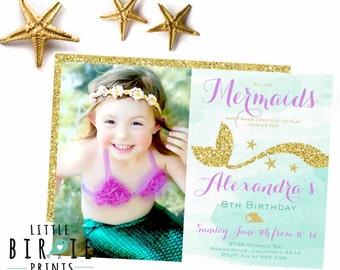 MERMAID INVITATION Mermaid birthday invitation Gold Mermaid invitation Mermaid first birthday invitation Purple Gold Mermaid Invitation