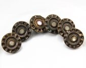 Gorgeous Vintage Victorian MOP Ornate Brass Button Set, 14mm, Wobble Loop Shank, 6pc/set